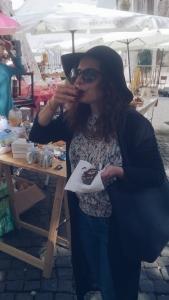 Local Alfama street market Lisbon