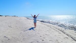 Throwing shells at Shell Beach Shark Bay WA
